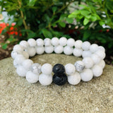 Howlite and Lava Stone Bracelet / yoga jewelry / gemstone / gift ideas / crystals / healing crystals / beaded bracelets / made in Canada