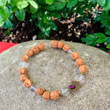 RUDRAKSHA BEADS AND CLEAR QUARTZ HAMSA BRACELET