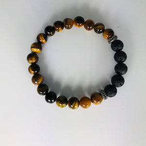 TIGER EYE, GOLD AND LAVA STONE BRACELET #3