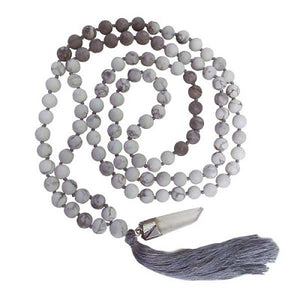 MALA NECKLACE - MATTE HOWLITE AND GREY MAP JASPER