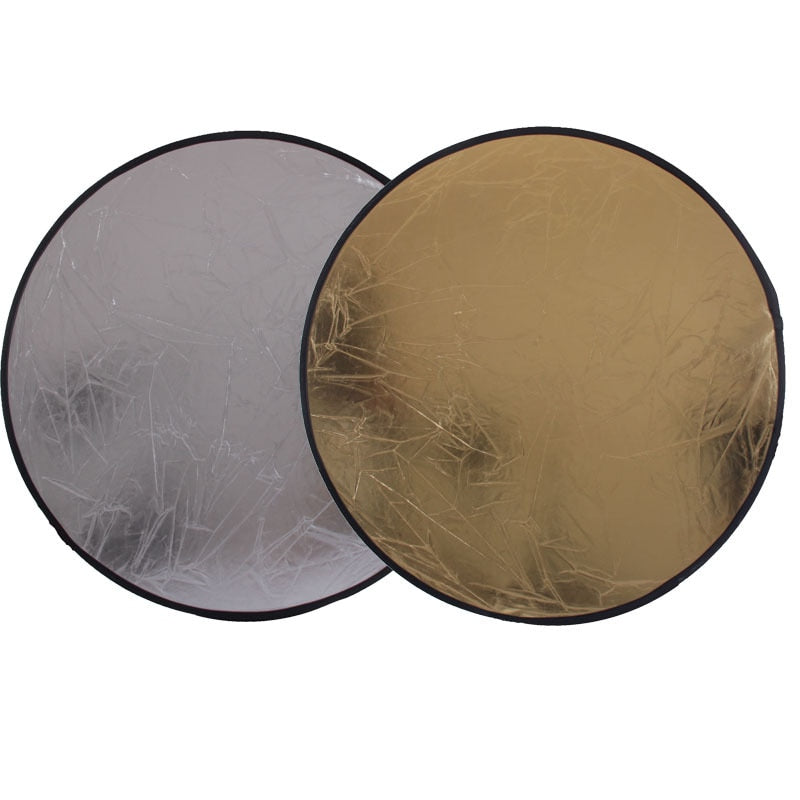 2 in 1 60CM 23 inch Round Flash Studio Collapsible Refletor Light Disc Silver Gold Riflettore Wholesale Reflector