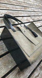 The Grey/Green Leather and Carbon Fiber Tote Bag