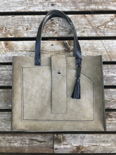 Load image into Gallery viewer, The Grey/Green Leather and Carbon Fiber Tote Bag
