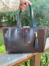 Load image into Gallery viewer, The Burgundy and Black Leather Handbag