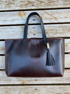 The Burgundy and Black Leather Handbag