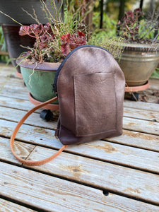 Sweet Butter Brown Leather Backpack with Adjustable Strap and Exterior Pocket