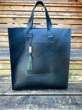 Load image into Gallery viewer, Large Black Leather Tote Bag