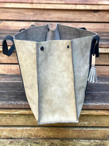The Grey/Green Leather Tote