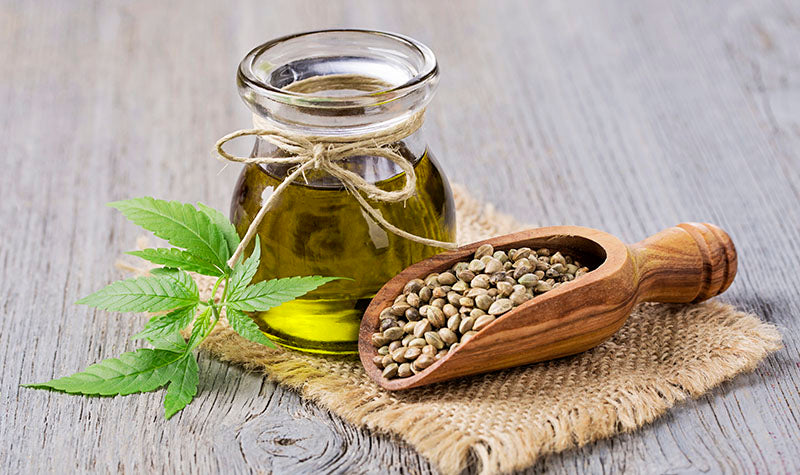 Hemp seeds in a wooden spoon with hemp oil in a jar. hemp extract benefits. benefits of hemp extract oil.