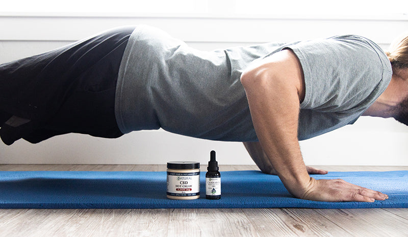 Man doing pushups next to CBD. Can cbd help with working out?