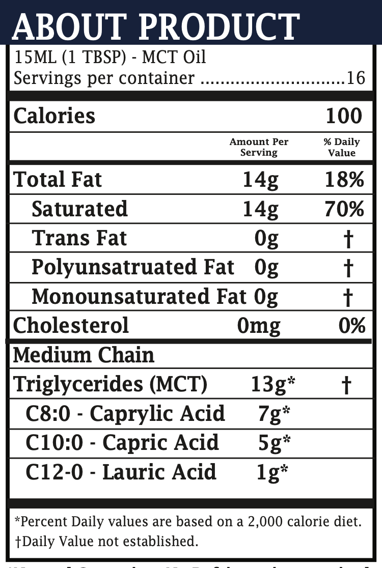 Zatural MCT oil 8oz nutritional facts