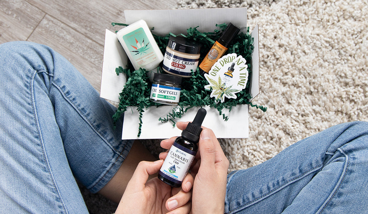 Group of CBD products in a box. Does CBD have any benefits