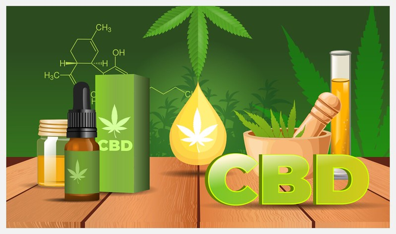 illustration of CBD oil products. Image by www.herbonaut.com.