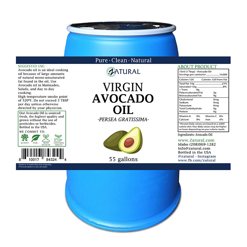Avocado Oil - Organically Grown Virgin Avocado Oil
