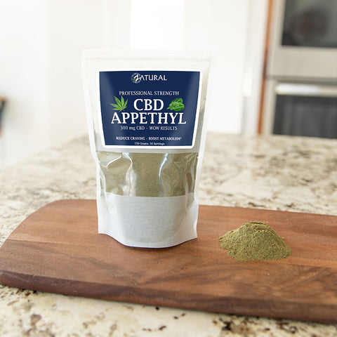 CBD Appethyl on a cutting board. CBD Appethyl can assist with weight loss