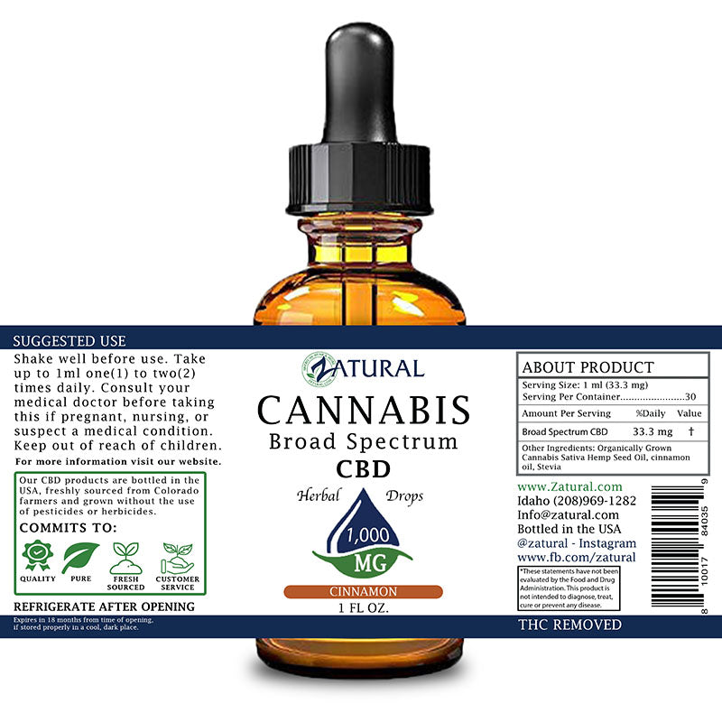 Zatural 1,000mg Cinnamon Flavored CBD Oil