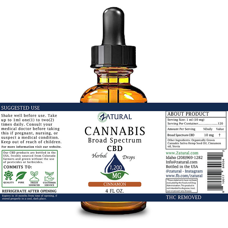 Zatural 1,200mg Cinnamon Flavored CBD Oil