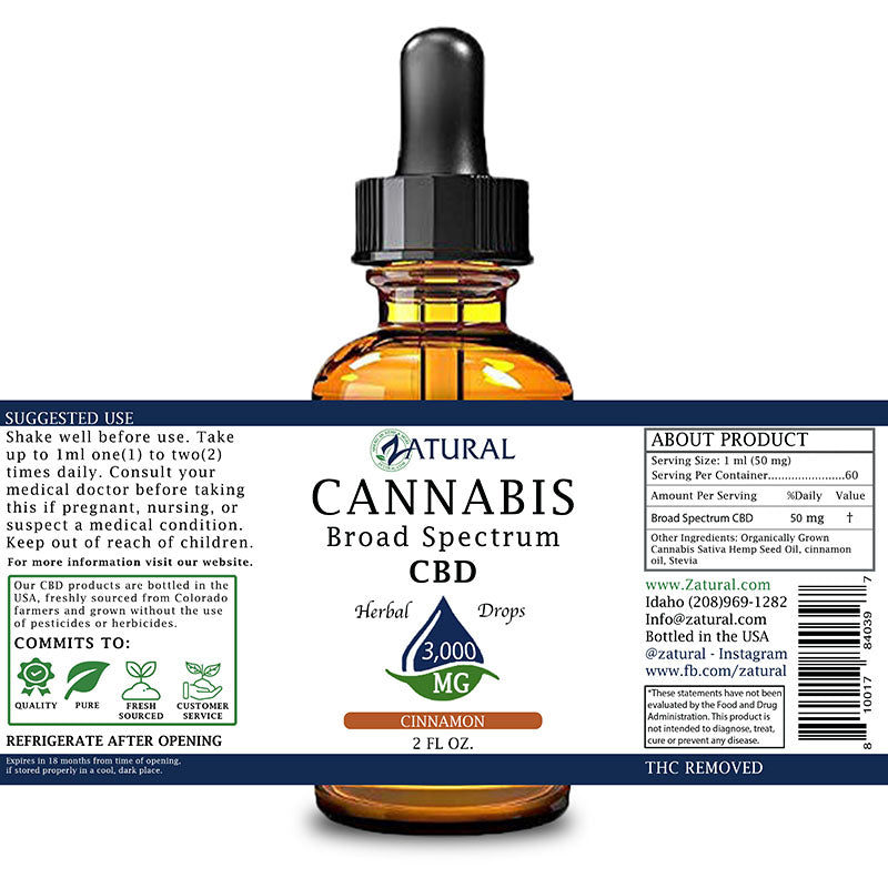 Zatural 3,000mg Cinnamon Flavored CBD Oil