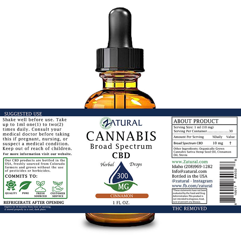 300mg Cinnamon Flavored CBD Oil Drops