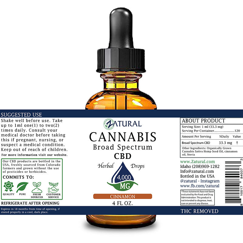 Zatural 4,000mg Cinnamon Flavored CBD Oil