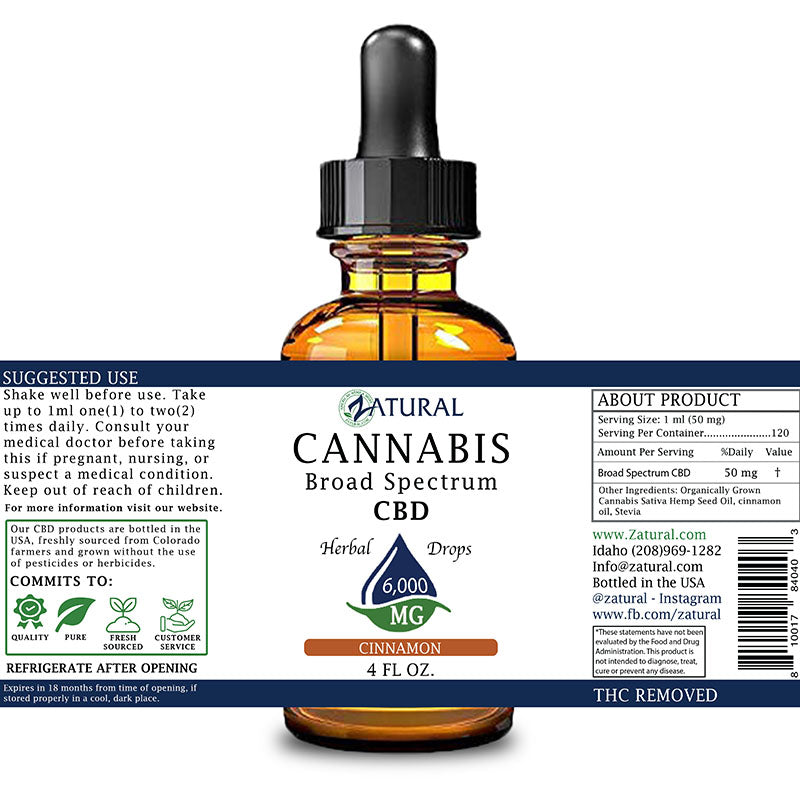 Zatural 6,000mg Cinnamon Flavored CBD Oil