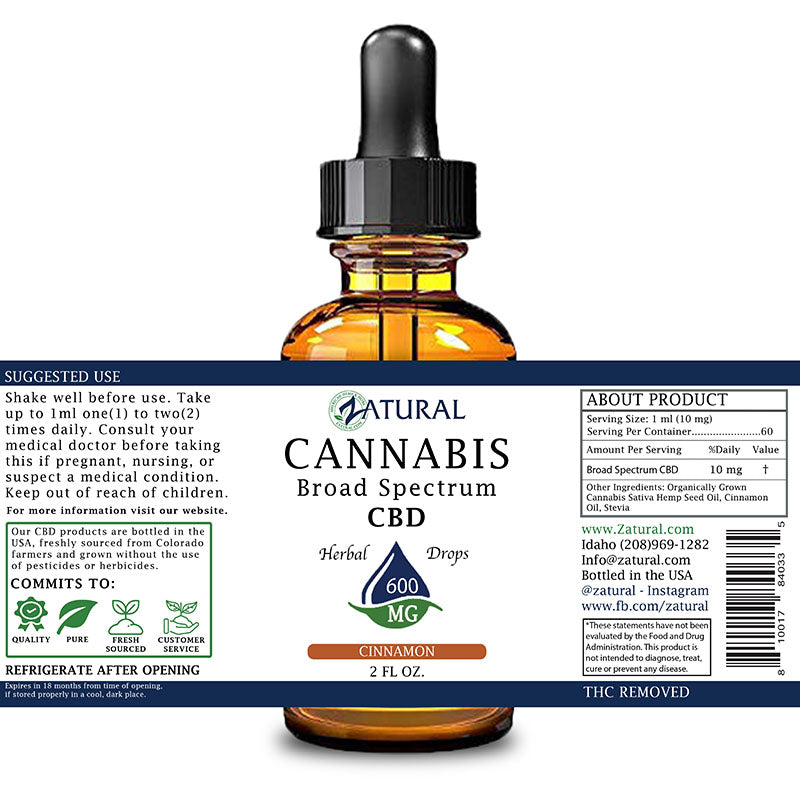 Zatural 600mg Cinnamon Flavored CBD Oil