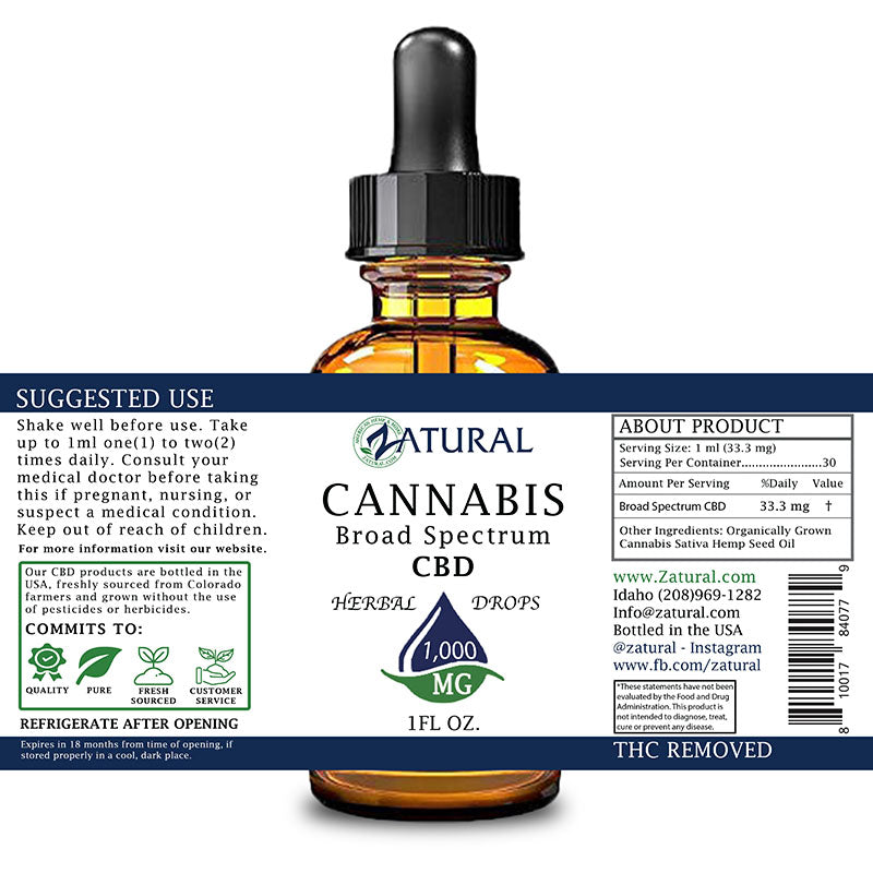 Zatural 1,000mg CBD Oil Natural Drops