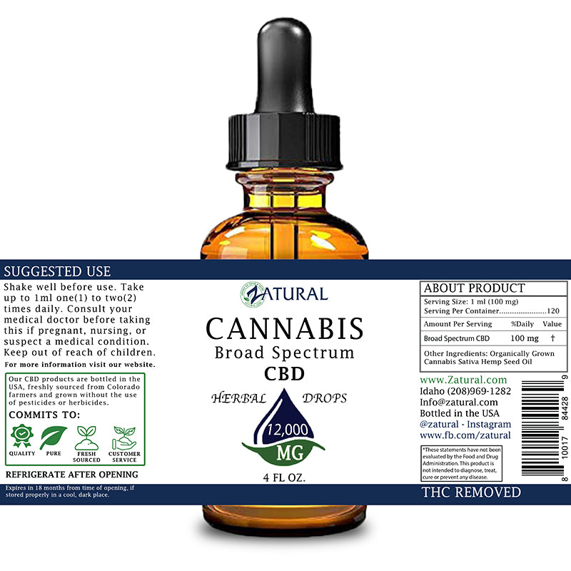 Zatural 2oz 12,000mg CBD Oil Natural Drops