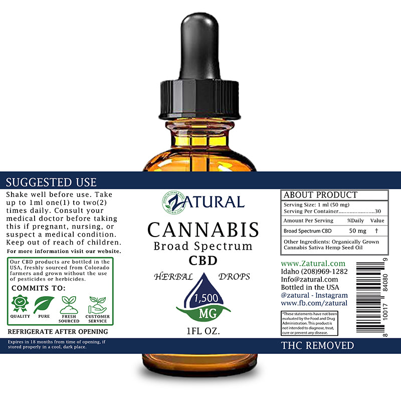 Zatural 1,500mg CBD Oil Natural Drops