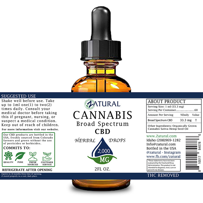 Zatural 2,000mg CBD Oil Natural Drops