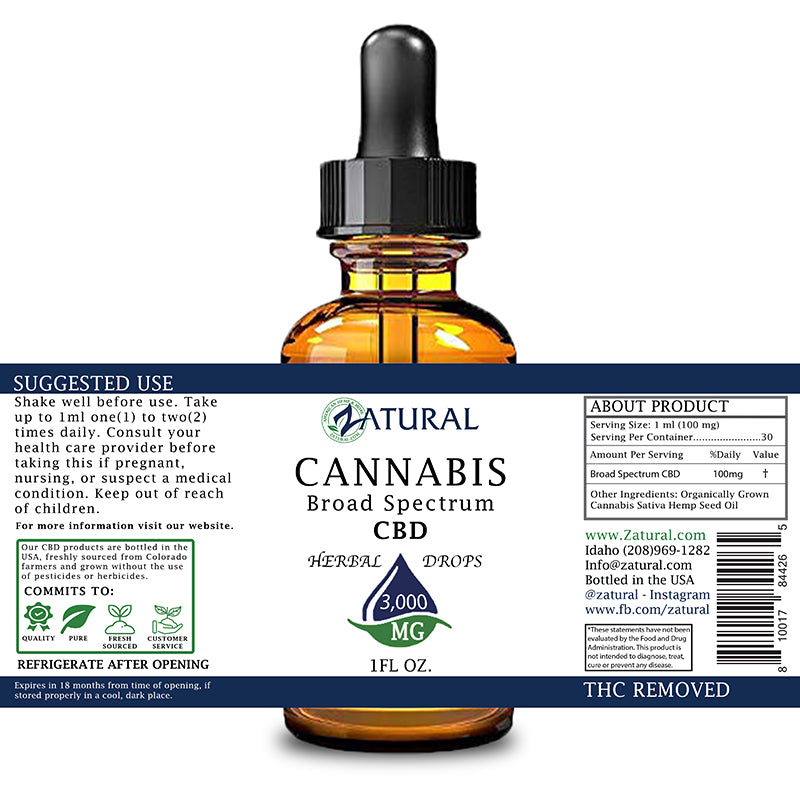 Zatural 1oz 3,000mg CBD Oil Natural Drops