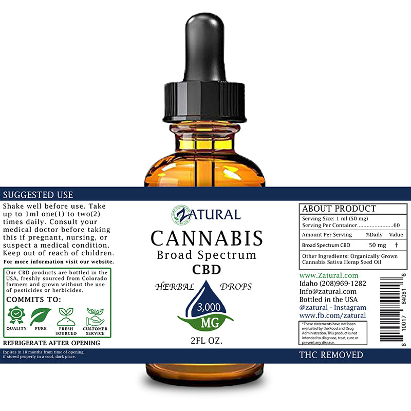 Zatural 3,000mg CBD Oil Natural Drops