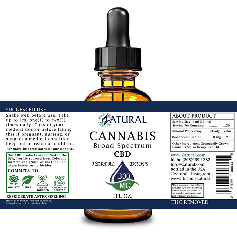 Zatural 300mg Natural Flavored CBD Oil