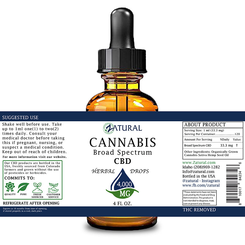 Zatural 4,000mg CBD Oil Natural Drops