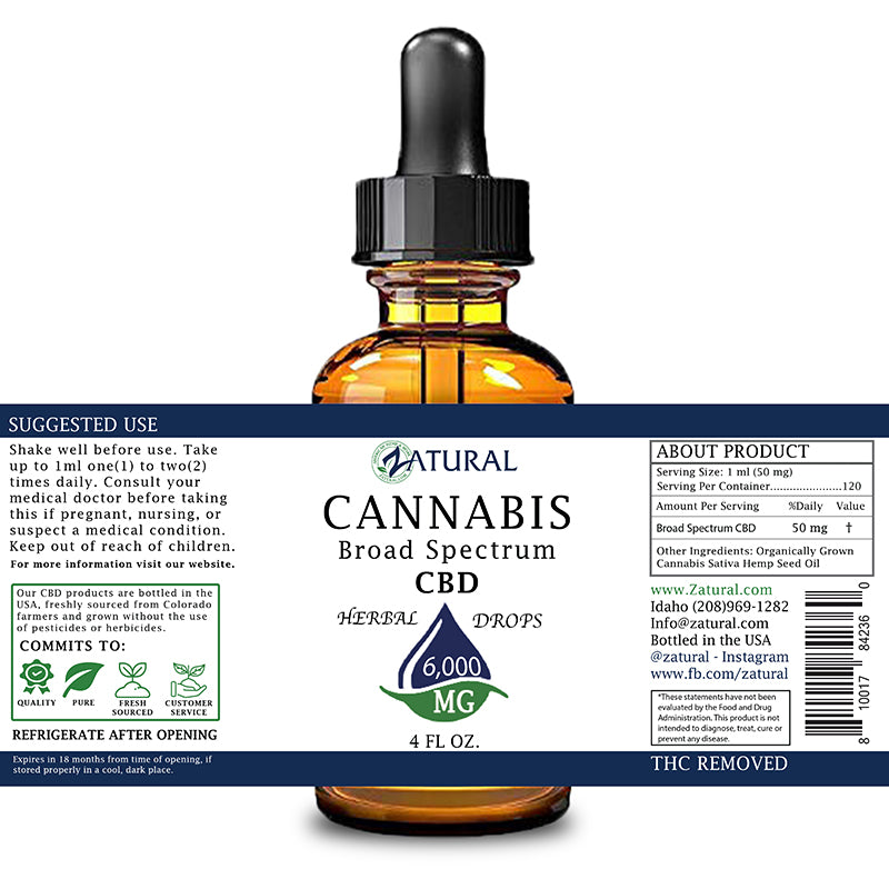 Zatural 6,000mg CBD Oil Natural Drops