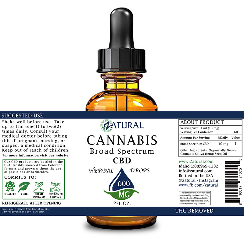 Zatural 600mg CBD Oil Natural Drops