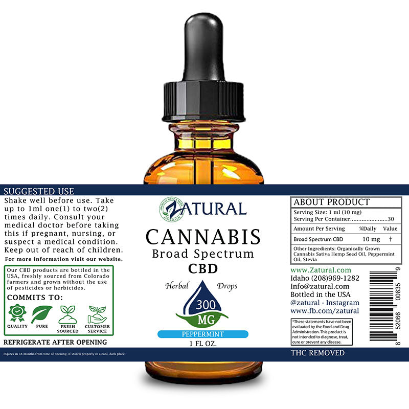 Zatural 300mg Peppermint Flavored CBD Oil