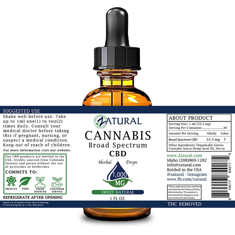 Zatural 1,000mg Sweet Natural Flavored CBD Oil