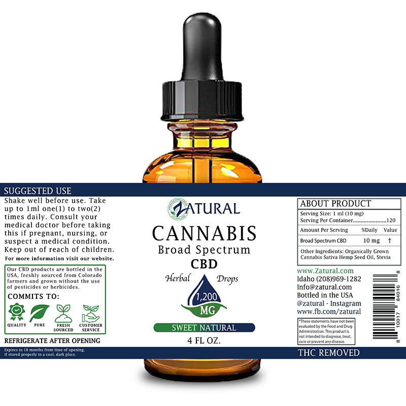 Zatural 1,200mg Sweet Natural Flavored CBD Oil
