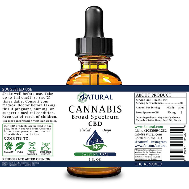 Zatural 1,500mg Sweet Natural Flavored CBD Oil