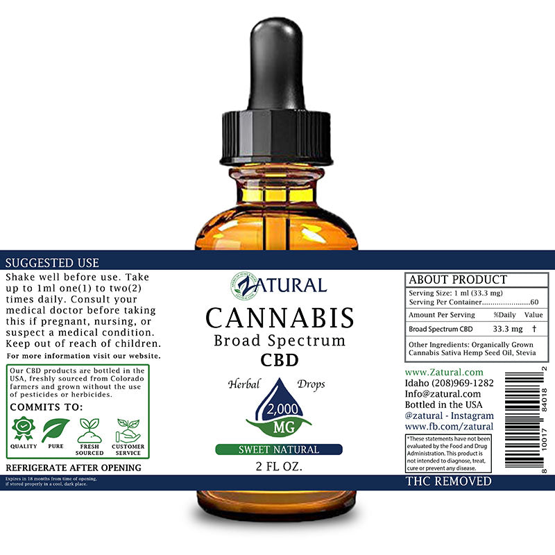 Zatural 2,000mg Sweet Natural Flavored CBD Oil