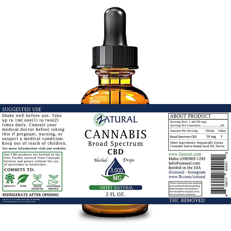 Zatural 3,000mg Sweet Natural Flavored CBD Oil