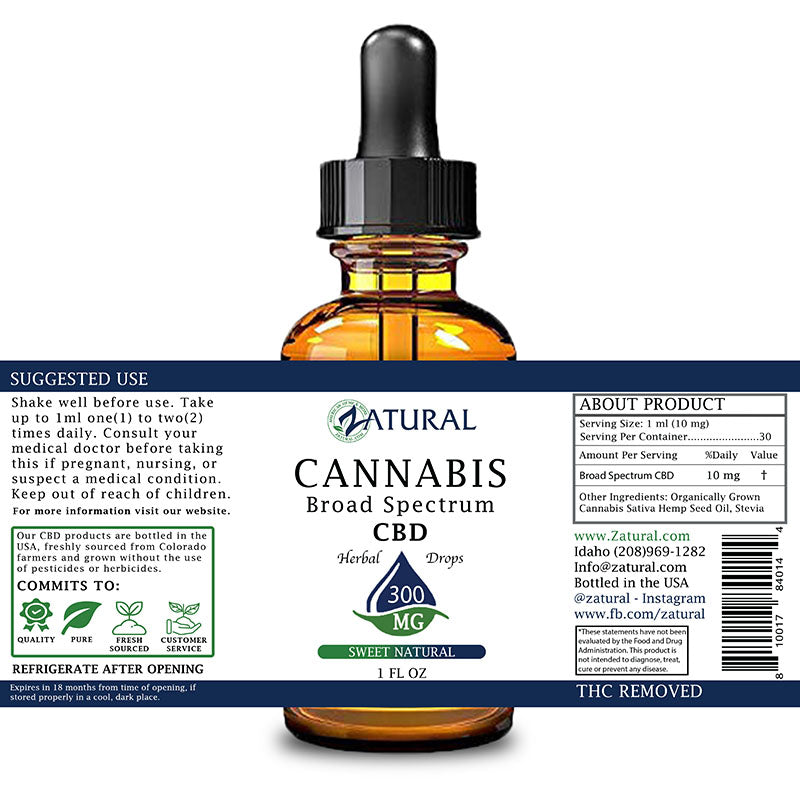 Zatural 300mg Sweet Natural Flavored CBD Oil