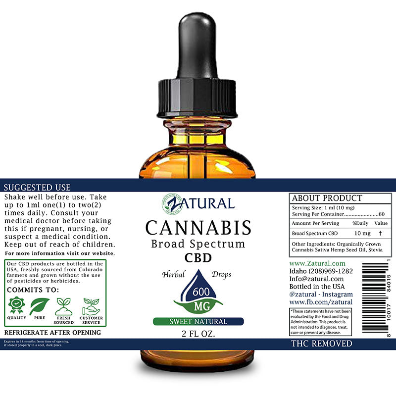 Zatural 600mg Sweet Natural Flavored CBD Oil