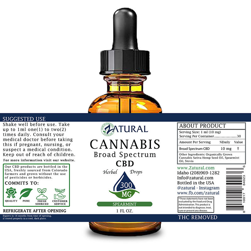 Zatural 300mg Spearmint Flavored CBD Oil