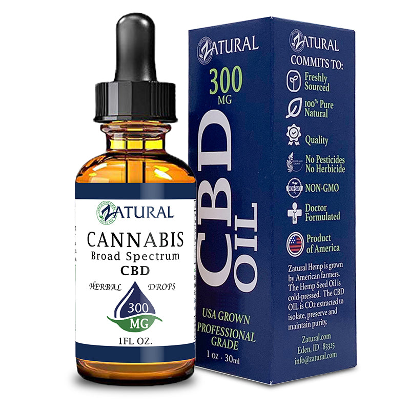 300mg Bottle of Natural Broad Spectrum CBD Oil