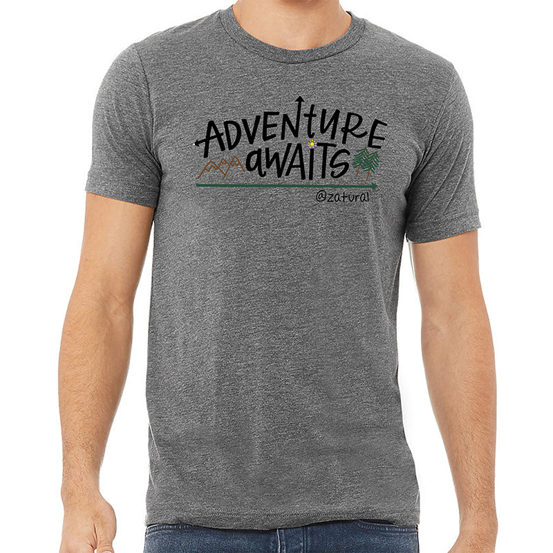 'Adventure Awaits' Unisex Gray T-shirt