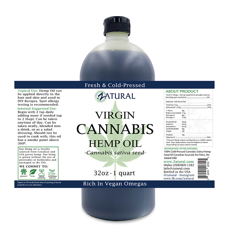 Zatural Hemp Seed Oil 32oz
