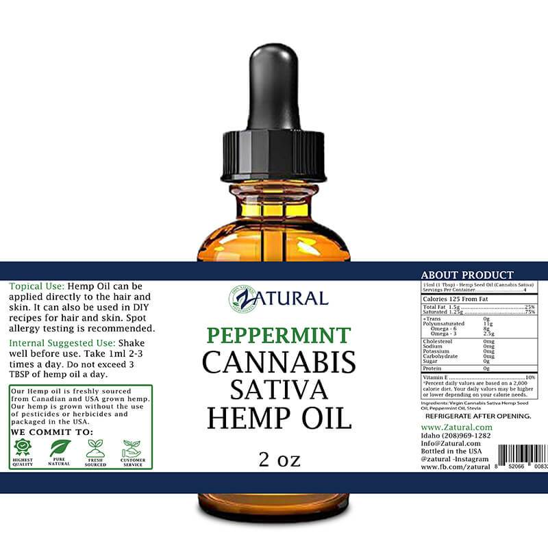 Zatural Peppermint Hemp Oil