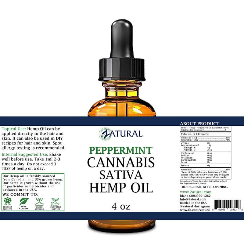 Peppermint Hemp Oil 4oz